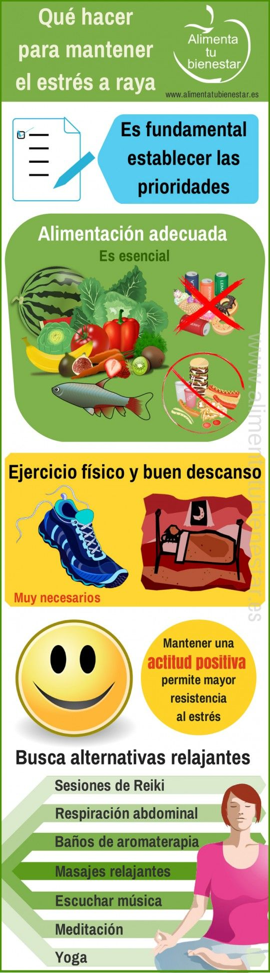 Compartimos contigo esta infografía diseñada por www.alimentatubienestar.es con recomendaciones para controlar el #Estrés