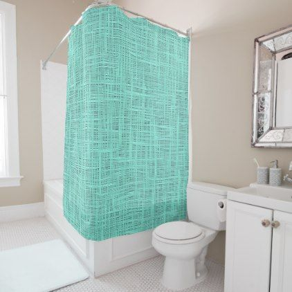 Aqua Turquoise Green Blue Faux Jute Fabric Pattern Shower Curtain - original gifts diy cyo customize