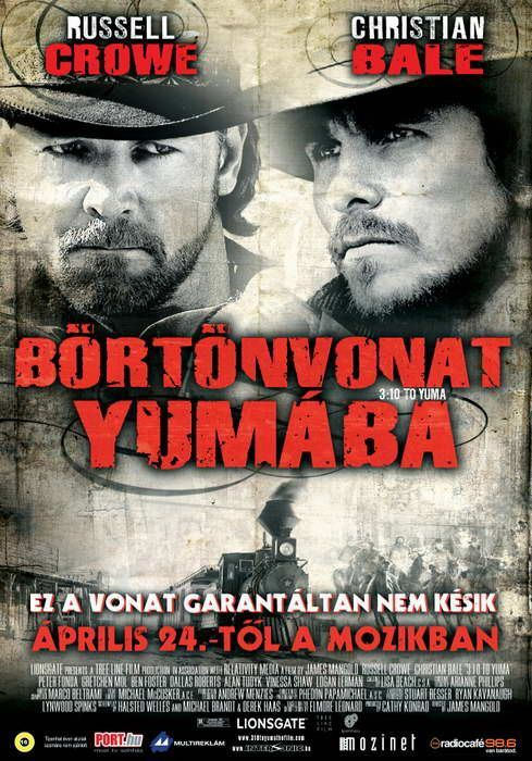 3:10 to Yuma , starring Russell Crowe, Christian Bale, Ben Foster, Logan Lerman. A small-time rancher agrees to hold a captured outlaw who's awaiting a train to go to court in Yuma. A battle of wills ensues as the outlaw tries to psych out the rancher. #Adventure #Crime #Drama #Western
