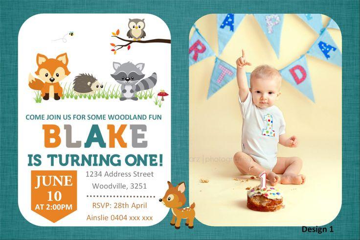 Woodland First Birthday Invitation - Fox Invitation - Woodland Creatures Invitation by KleezPrints on Etsy