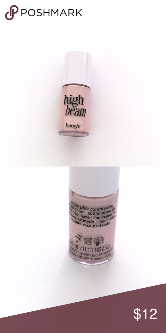 Benefit High Beam Highlighter Brand New || 0.13 fl oz || Benefit High Beam Highlighter   Benefit Cosmetics satiny pink liquid highlighter accents cheek & brow bones for a dewy, radiant glow. Use as a spot highlighter over makeup or wear under complexion products for subtle luminescence. Benefit Makeup Luminizer