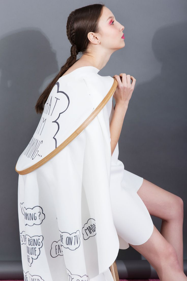 """""""Inner Thoughts, Outer Reflections"""" by Ailbhe Griffin. Look five: neoprene 'What I'm Thinking' hoop dress, with print details and scallop hem. #fashion #fashiondesign"""