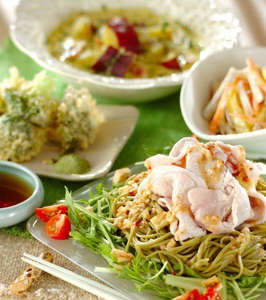 「茶そばの豚シャブゴマサラダ」の献立・レシピ - 【E・レシピ】料理のプロが作る簡単レシピ/2008.09.08公開の献立です。