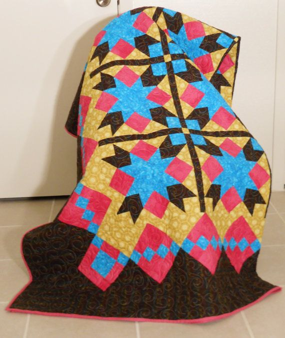 Large Twin Quilt / Star Quilt / Large Throw Quilt by SamBabyStudio