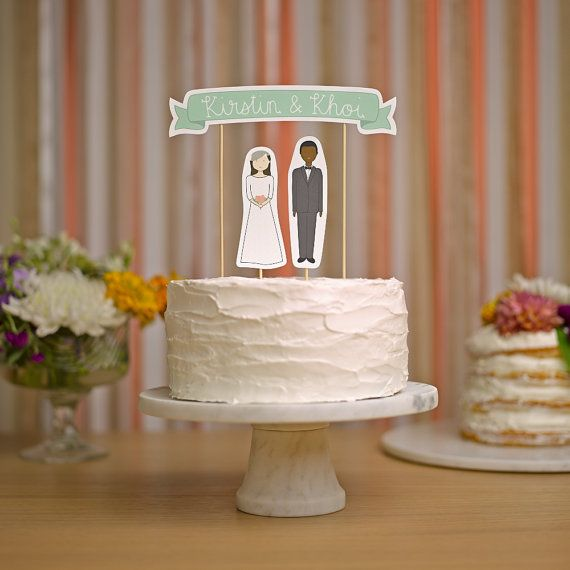 Wedding Cake Topper Set - Custom Cake Banner No. 3 / Bride and/or Groom Cake Toppers
