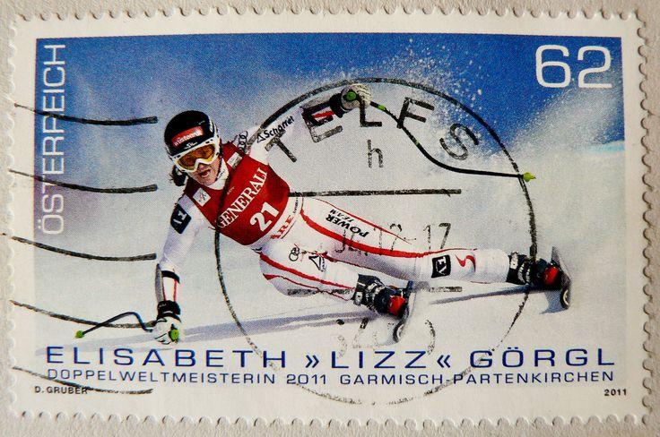 stamp Austria 62c (Ski-Team Austria; Elisabeth Görgl)