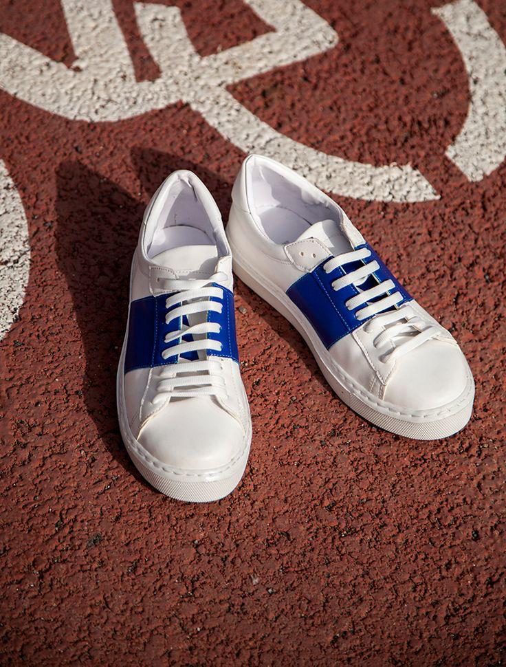 SPOR AYAKKABI Popov Beyaz Mavi Kombin Spor Ayakkabı