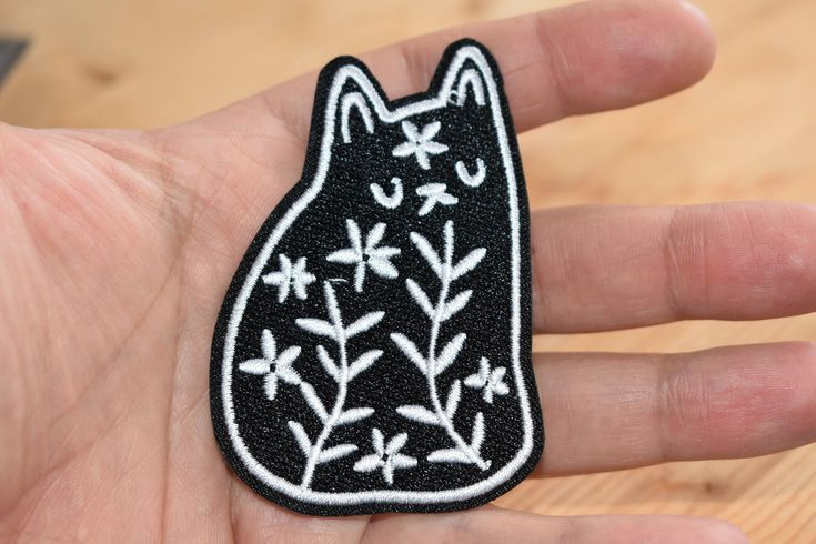Excited to share the latest addition to my #etsy shop: Black&white Flower Cat - Iron stick Embroidered patch/applique For T-Shirts,Hats,Jackets,Pants, Vintage Collection supreme quality. http://etsy.me/2mRLrQz #accessories #patch #birthday #easter #embroideredpatch #ir