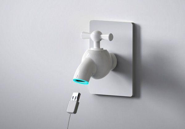 Turn Tap for USB Power    The Charging Tap is quite an adorable hub that takes in cellphones, digital cameras, MP3 and other USB enabled devices, for charging. Quite simple and minimal in styling, all you need to do is to hook up your gadget and turn on the tap! I love it!