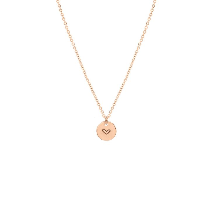 Heart Disc Necklace - 3/8""