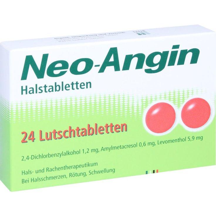 NEO ANGIN Halstabletten:   Packungsinhalt: 24 St Lutschtabletten PZN: 06110623 Hersteller: EurimPharm Arzneimittel GmbH Preis: 3,70 EUR…