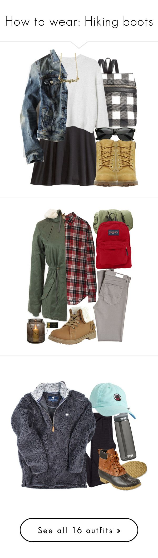 """How to wear: Hiking boots"" by maddophelia ❤ liked on Polyvore featuring Kara, H&M, Monki, American Eagle Outfitters, Timberland, Retrò, AG Adriano Goldschmied, OLIVIA MILLER, Cheap Monday and Hoodlamb"