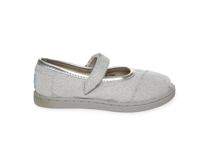 undefined Silver Glimmer Tiny TOMS Mary Janes