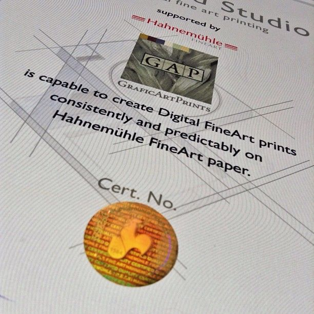 """#GraficArtPrints, #giclee printing, #Certified #Studio by #Hahnemühle. After some time in the process, we are pleased to announce that the firm Hahnemühle issued the document that accredits GraficArtPrints as a """" Certified Studio"""" .The purpose of this certificate is to inform artists, international locations where true fineart prints can be carried out, in case they shoud move or decide on a matter of logistics – print in a given country."""