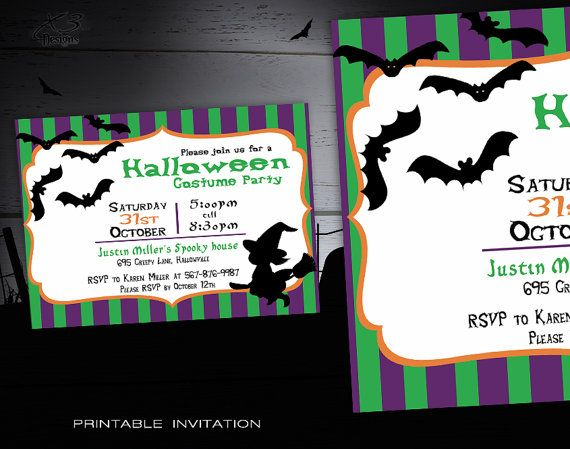 Halloween Party Invitation Kids - Spooky Printable Halloween Invitations - DIY Halloween Costume Party Invites Kids -  Whitch and Bats
