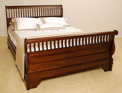 Antique Style Bedroom Furniture Mahogany Wood Slatted Sleigh Bed BD-207K