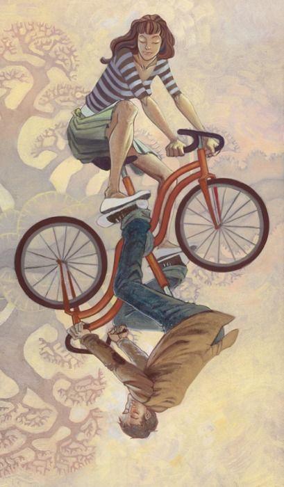 Precious Art of a Couple on a Bike(s)