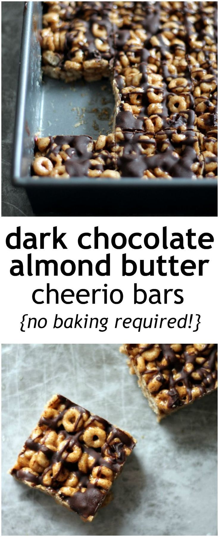 Easy, no-bake cheerios bars made with natural almond butter and honey. The dark chocolate drizzle makes it extra special!