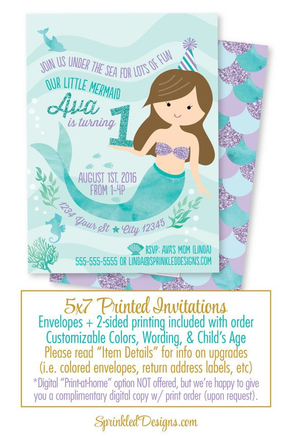 mermaid birthday invitation mermaid birthday invites mermaid birthday party aqua teal purple pink - Little Mermaid Party Invitations