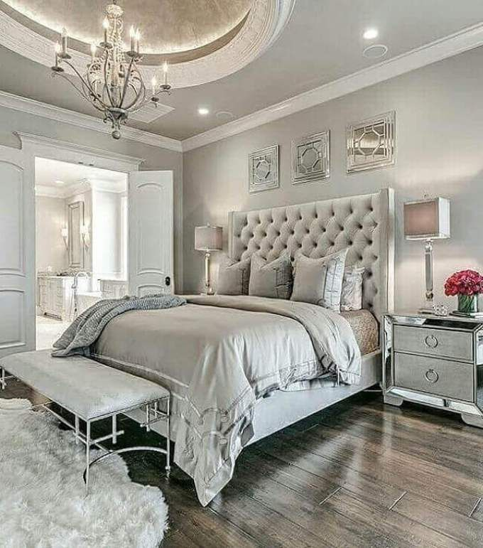 Relaxing Warm Cozy Elegant Comfortable Beautiful Bedroom Walls Taupe Trim White Traditional Bedroom Design Couples Master Bedroom Traditional Bedroom