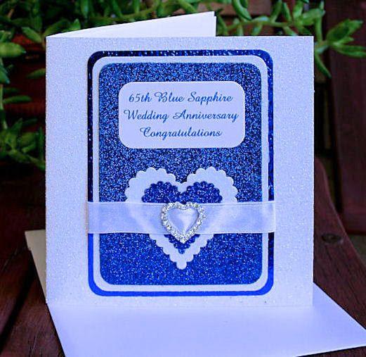 65th Blue Sapphire Wedding Anniversary by CardsbyCoralJean on Etsy
