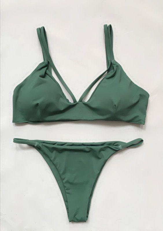 Neat Olive Green Triangle Bikini Suits