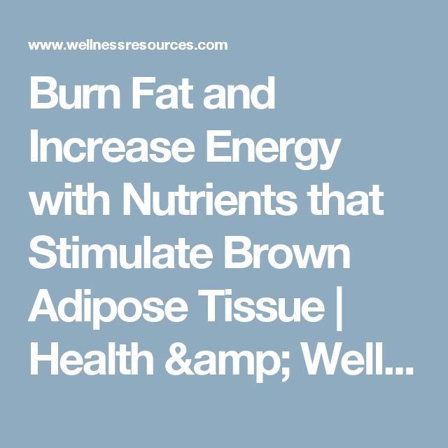 Burn Fat and Increase Energy with Nutrients that Stimulate Brown Adipose Tissue | Health & Wellness News
