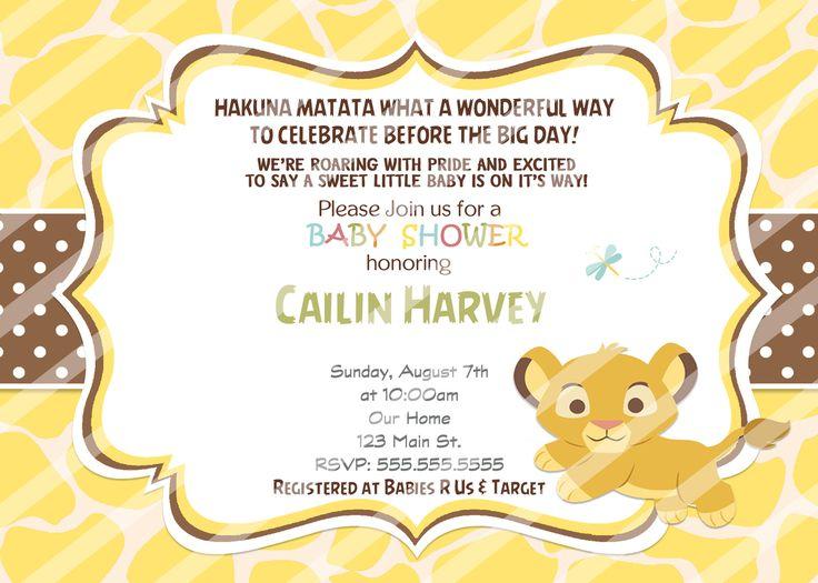 Baby Simba Baby Shower Invitations Yellow