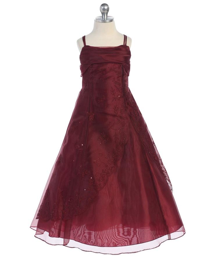 Classic Burgundy A-line Dress with Caviar Design