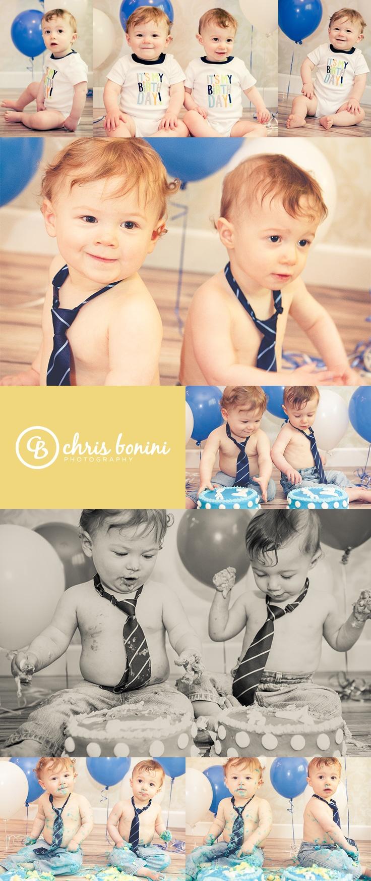 Twin boy's birthday cake smash indoor photoshoot -- © Chris Bonini Photography…