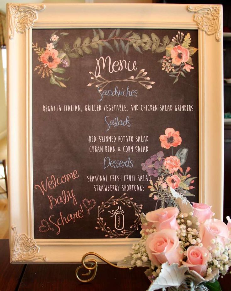 Vintage baby shower party chalkboard menu! See more party ideas at CatchMyParty.com!