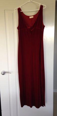 Floor length red velvet dress