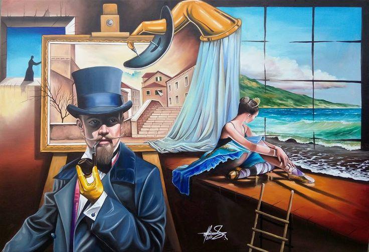 """Blue Swan"" - Oil on canvas  Mihai Adrian Raceanu, Painter from Romania #art #painter #painting #surrealism"