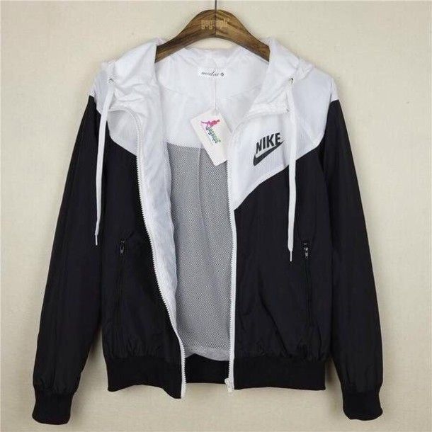 jacket nike black and white sexy workout clothes nike windbreaker cute sweater blouse black white tumblr girl girly pretty nike jacket navy waterproof bomber jacket