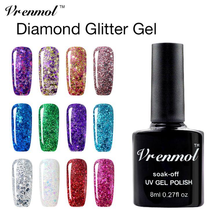 Vrenmol 1 unids 3D Diamond Glitter UV Gel Esmalte de Uñas empapa de Larga duración 20 Colores Brillo de Uñas de Gel barniz