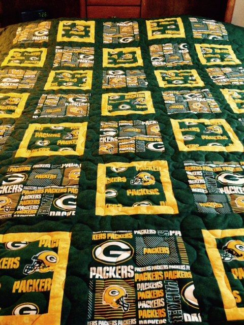 green bay packer twin size quilt by BOBBINSISTERS on Etsy https://www.etsy.com/listing/222968020/green-bay-packer-twin-size-quilt