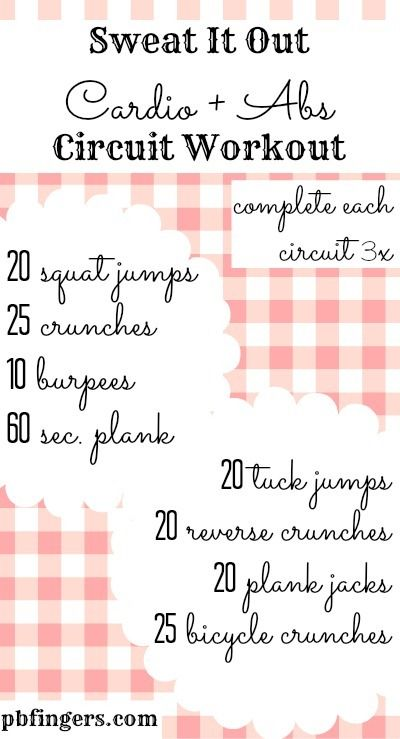 Cardio and Abs Circuit Workout--alternated each set with arm free-weight exercises--definitely a great workout!
