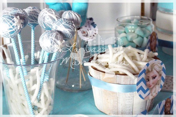 Cakepops para la mesa dulce de Frozen