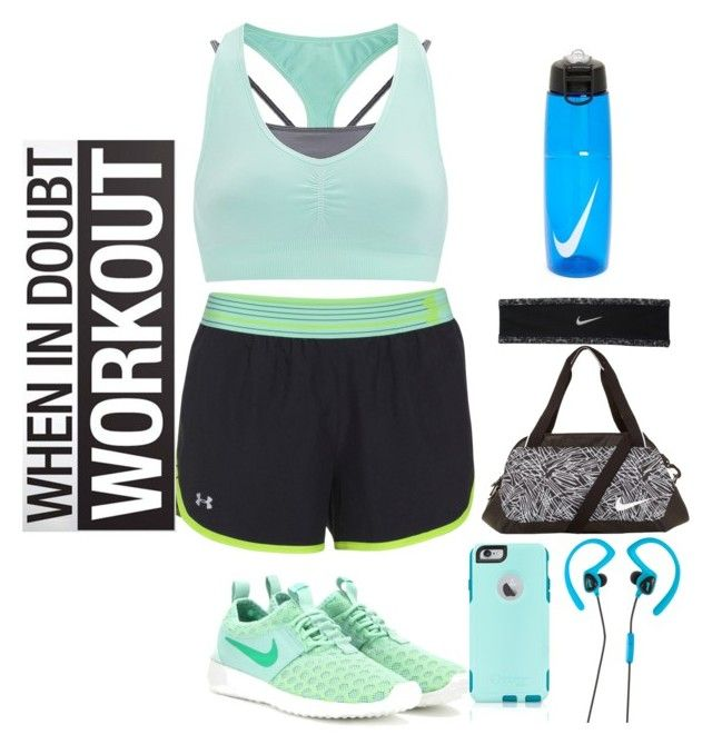 """""""set #23 (gym day) by uberwine"""" by uberwine on Polyvore featuring Sweaty Betty, Under Armour, NIKE, OtterBox, Avia, women's clothing, women, female, woman and misses"""