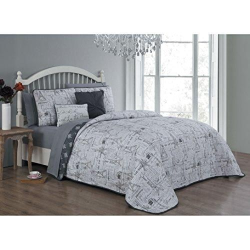 Grey I Love Paris Quilt King Set Eiffel Tower Bedding France Inspired Iconic French Pattern Quotes Sayings Fashionable Gray Stamps Polyester