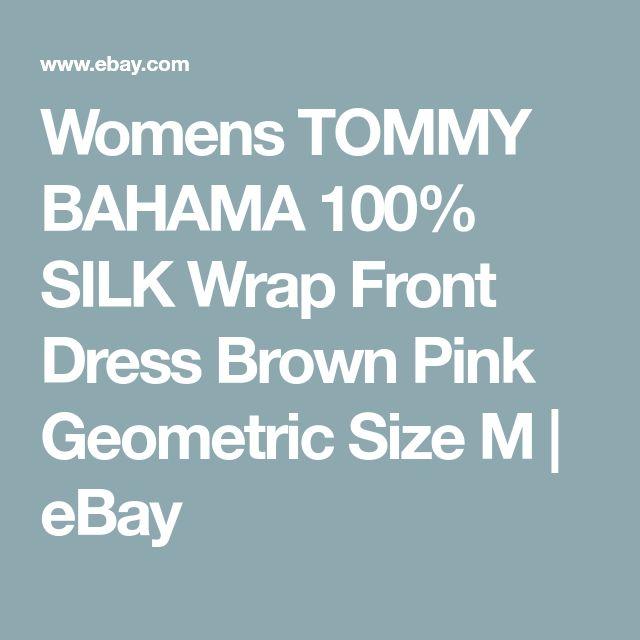 Womens TOMMY BAHAMA 100% SILK Wrap Front Dress Brown Pink Geometric Size M | eBay
