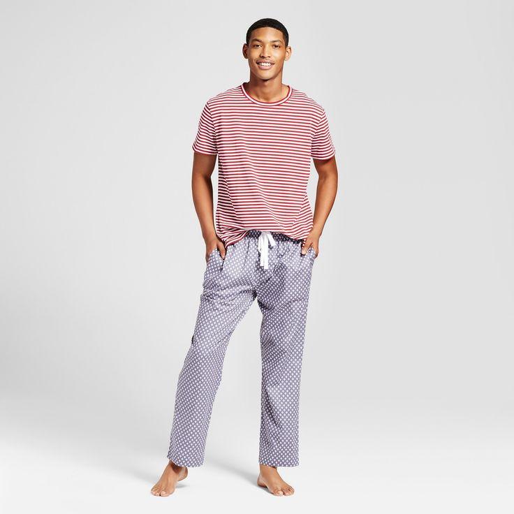 Men's Poplin Knit Pajama Set - Indigo Ikat Print Xxl
