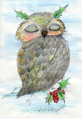 kunstpause: Erster Advent Grüße und selbstgemalte Eulenbilder als Weihnachtsgeschenk und Weihnachtsdeko