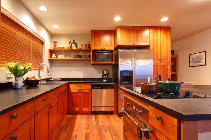 Craftsman Kitchen with can lights, Drop-in sink, Flush, Wood blinds, Flat panel cabinets, dishwasher, Standard height, Paint