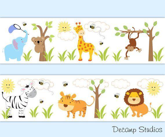 Safari Animal Nursery Wallpaper Border Wall Art Decals For Baby Boy Or Kids Room Decor Includes A Zebra Arte Para Guarderia Decoracion Cebra Nursery Ideas Boy
