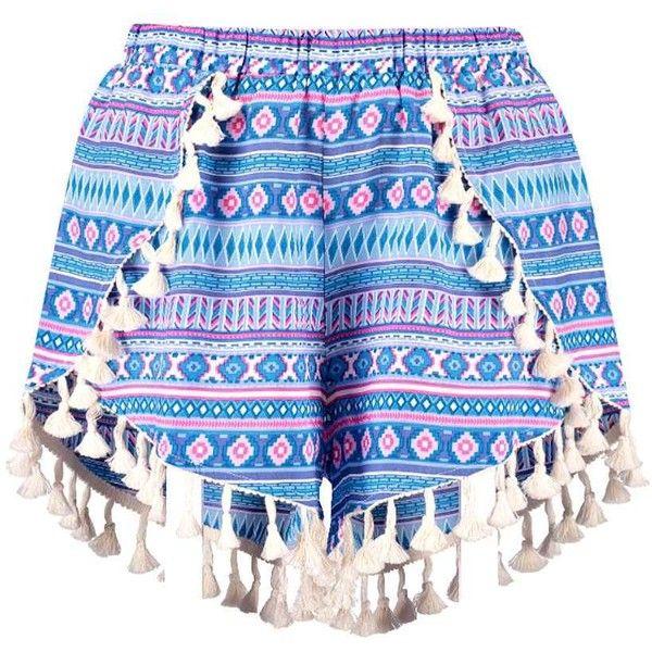 Boohoo Lisa Tassel Trim Woven Aztec Runner Shorts ($20) ❤ liked on Polyvore