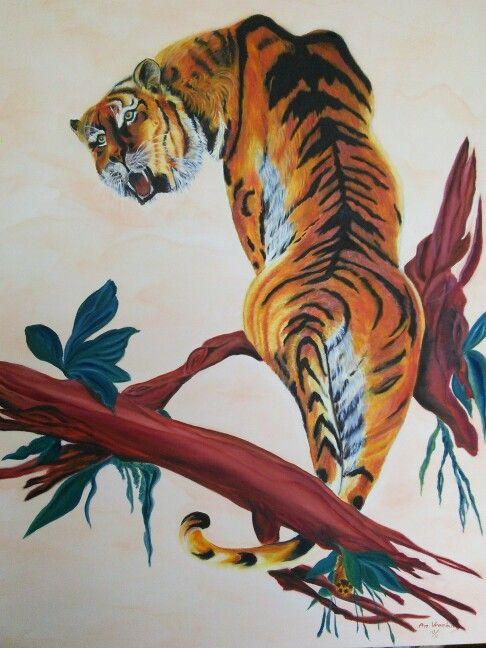 Tiger rag / by An Vreeburg Oil / canvas 70 X 90 cm.