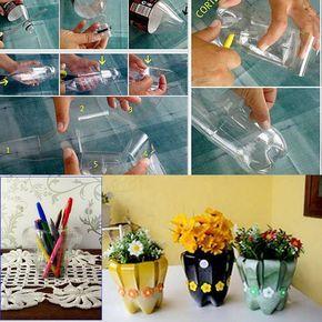Tiestos para flores con botella de agua
