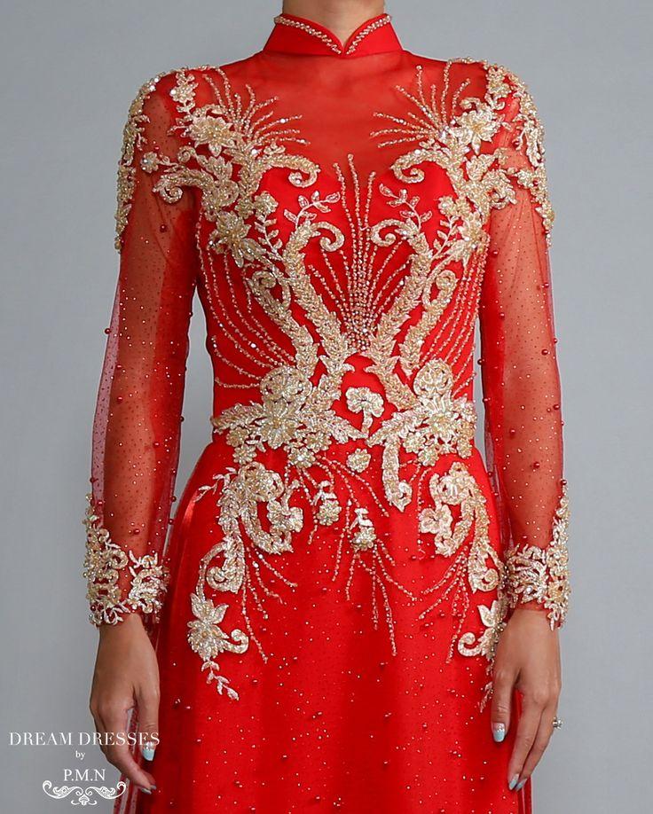 Red Ao Dai with Gold Lace | Vietnamese Lace Bridal Dress (#RAISSA) | Red ao dai | custom made ao dai online | beautiful red ao dai | bridal ao dai designer | Vietnamese brial dress