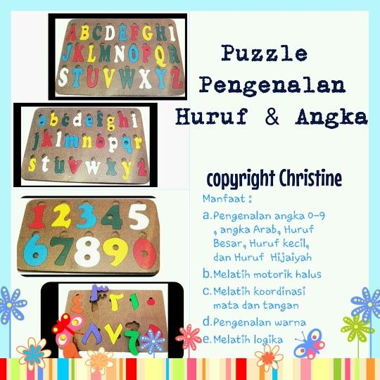 Puzzle Pengenalan huruf dan angka #mainantk #mainanedukasi #mainanpaud #mainanplaygroup #mainankayu #puzzle #puzzleanak #mainananak #belajarbaca #belajarangka #belajararab #belajarhurufhijaiyah #motorikhalus #belajarhurufbesar #belajarhurufkecil #warna #anak #batita #balita #kadoanak #suveniranak #hadiahanak #learningnumbers #learningalphabets #educationaltoys  WA : +6283863275962  CP Christine for order